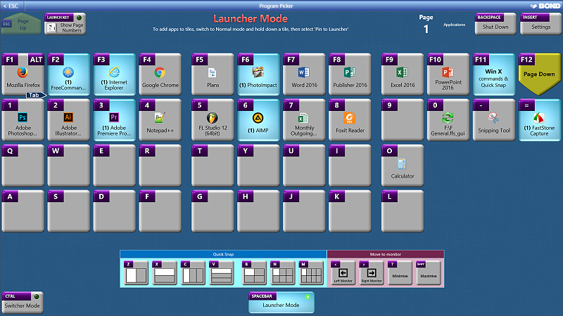 Application launcher, task switcher