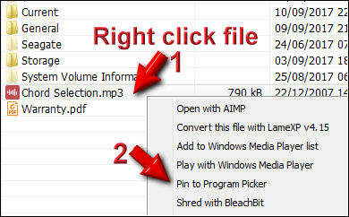 Right click file